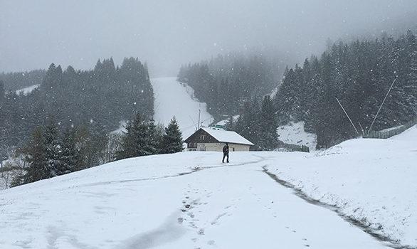 Hike in Vosges. Winter wonderland.