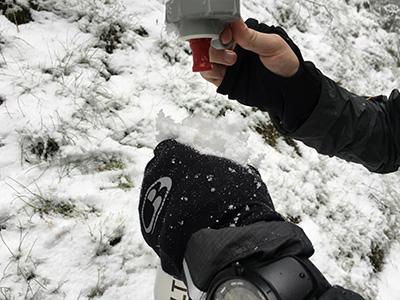 Hike in Vosges. Winter wonderland. Drinking snow.