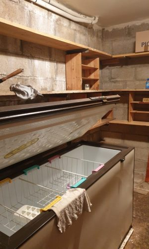 The storage space on the ground floor. We got to keep the big freezer. What do we store in it?